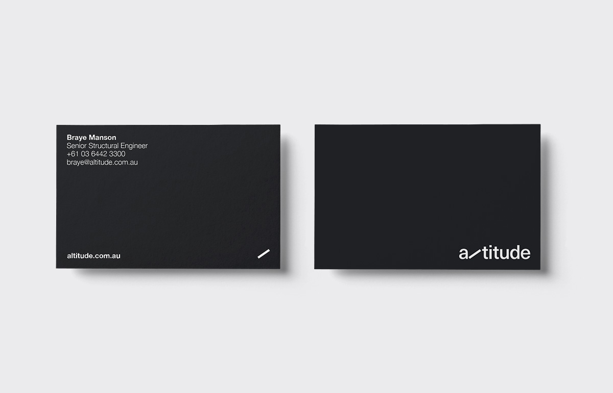 Business cards designed as part of our brand identity, production and naming project for Australian based structural engineering company, Altitude.