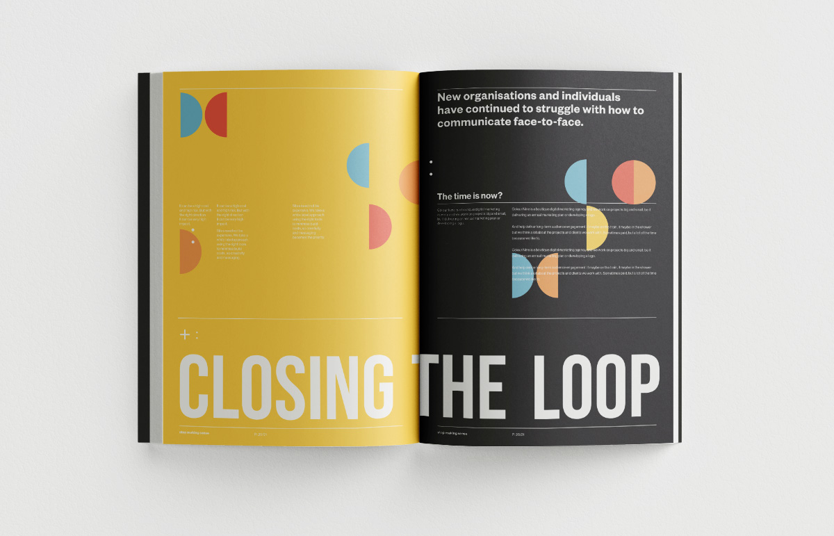 Layout design for promotional book created for Colour Nine, a digital marketing agency in London.