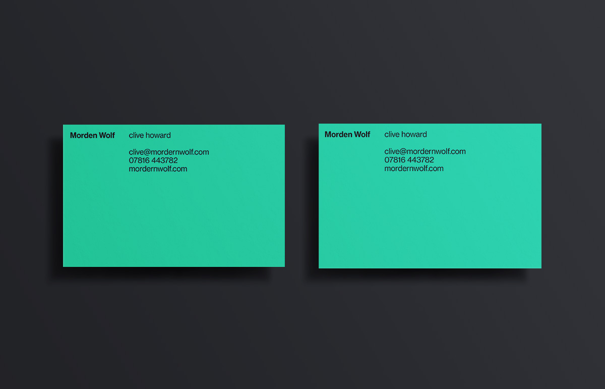 Business card design, part of our visual identity for virtual broadcasting company, Morden Wolf, based in Greenwich, South East London.