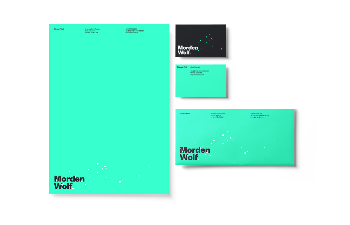 Stationery design, including letterhead, business card and compliment slip for virtual broadcasting company, Morden Wolf, based in Greenwich, South East London.