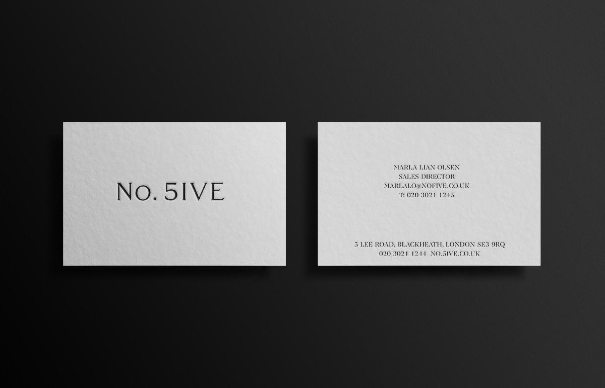 Letterpress business card design, part of our visual identity for No. Five, serviced offices in Blackheath Village, South East London.