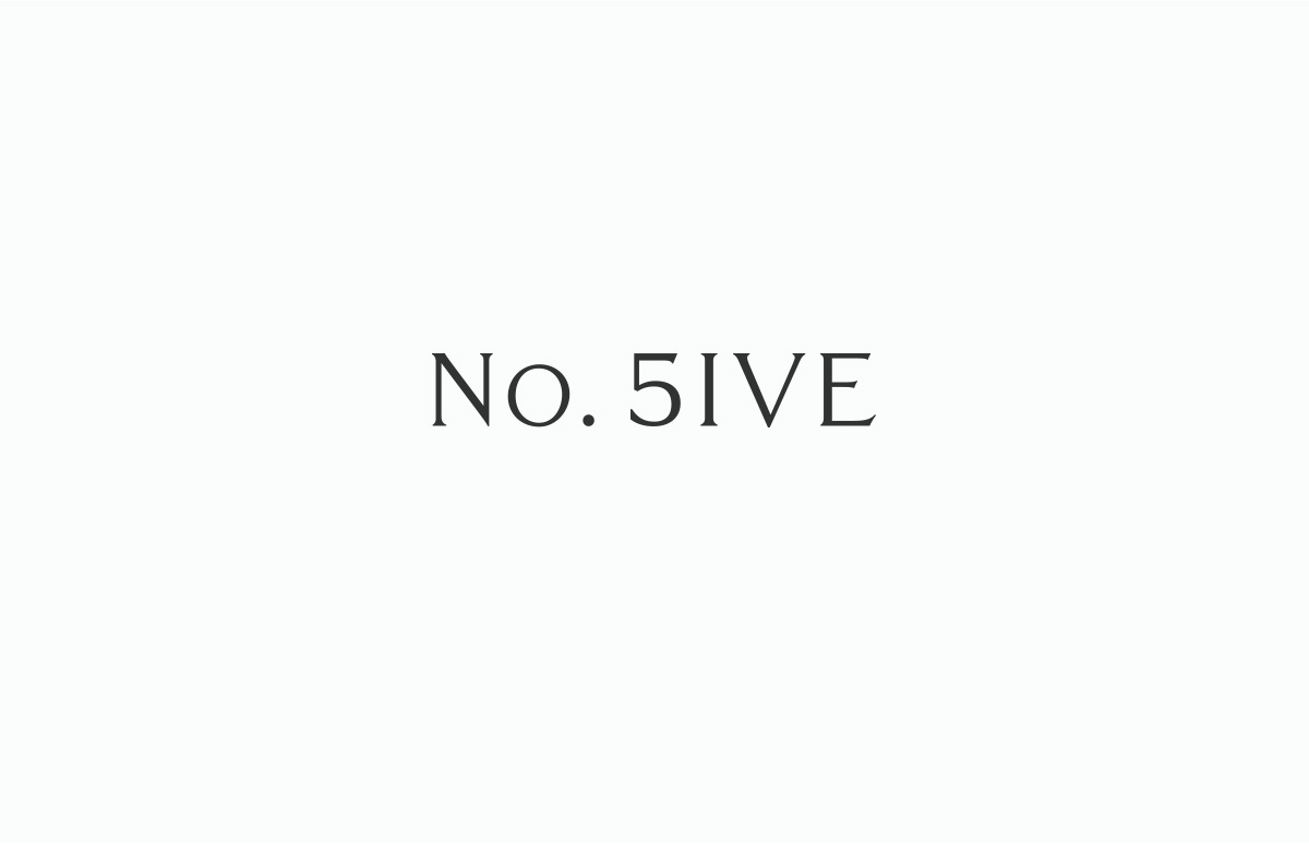 Contemporary logotype design for No. Five, serviced offices in Blackheath Village, South East London.