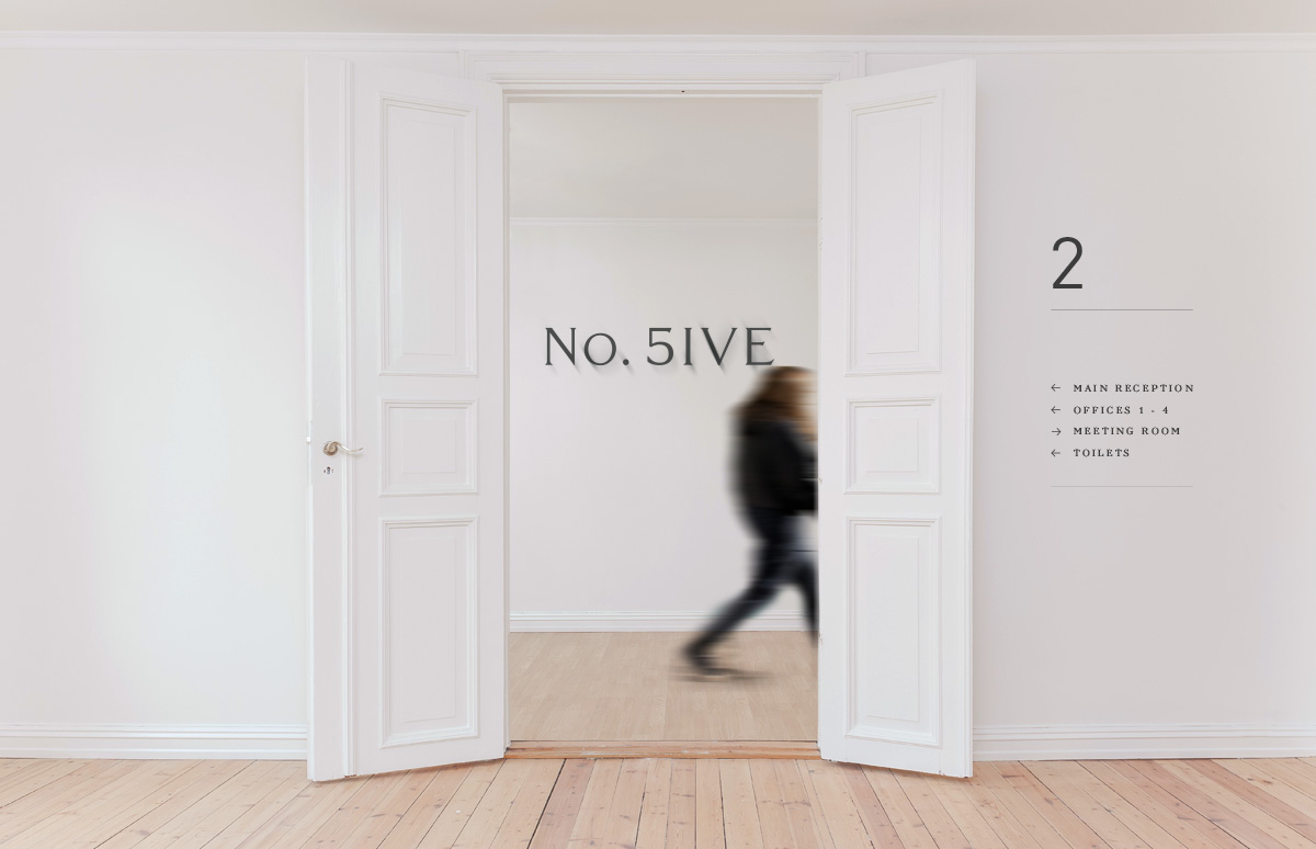 Bespoke internal office wayfinding signage for No. Five, serviced offices in Blackheath Village, South East London.