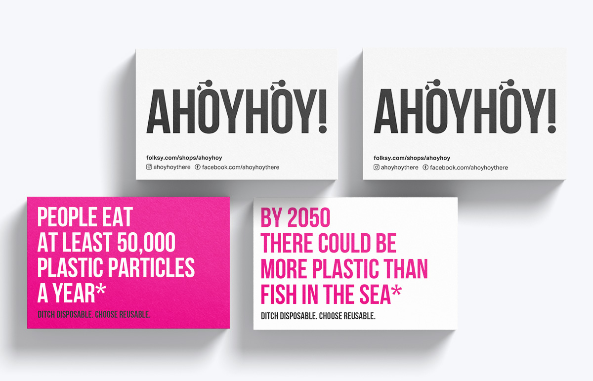 Double sided business card design for South London company, Ahoyhoy!