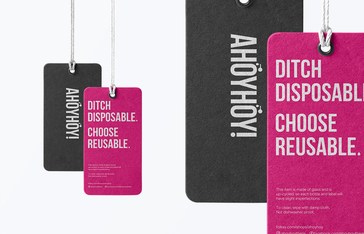 Swing tag design for up-cycled dispensers.