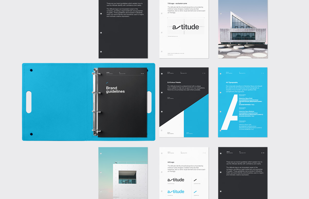Selection of brand guideline pages, completed as part of our identity, rename and collateral for structural engineering company, Altitude.