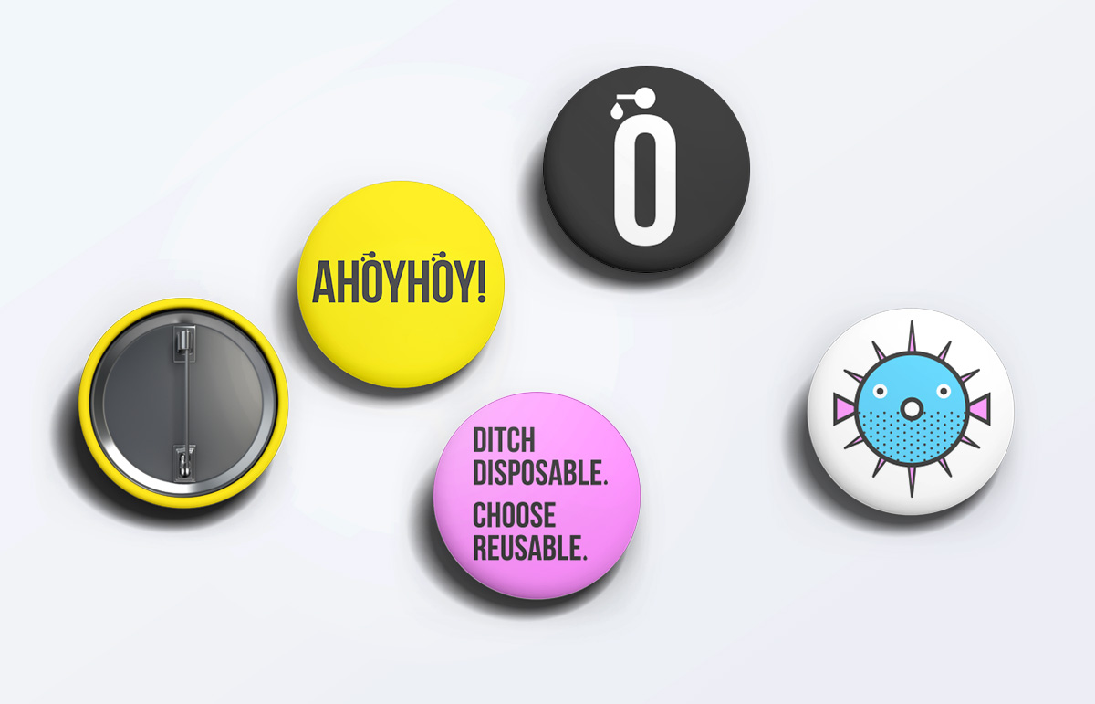 Selection of promotional badges designed for South London company, Ahoyhoy!, using logomark and graphic illustrations created by Sublime.