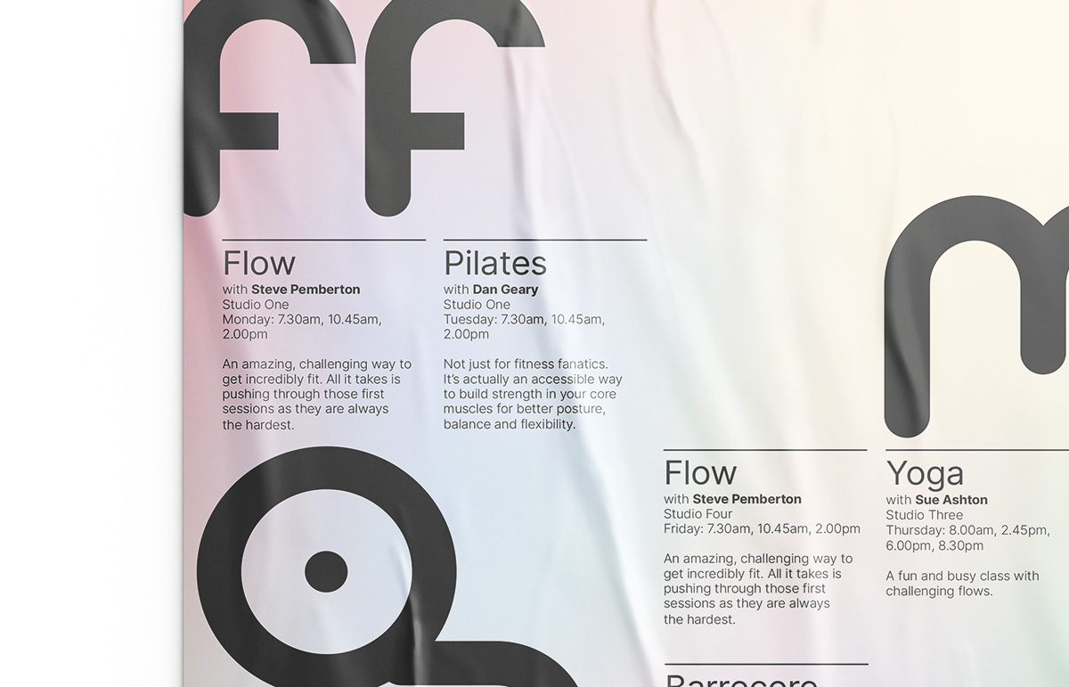 Section of poster designed for Fform, a lifestyle gym in London Borough of Bromley, Kent.