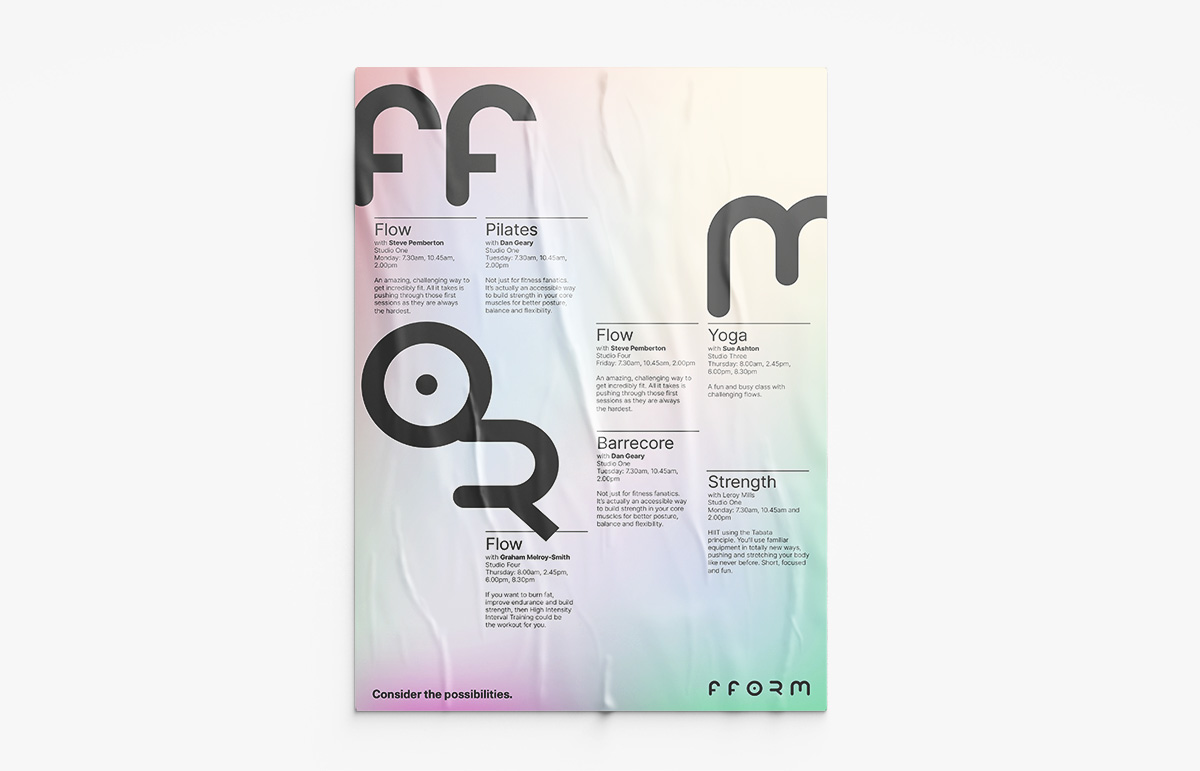 Poster design for Fform, a lifestyle gym in London Borough of Bromley, Kent.