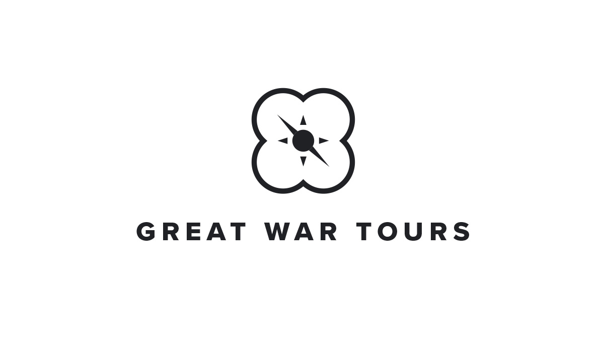 Logotype and mark concept design for bespoke tour company, Great War Tours.