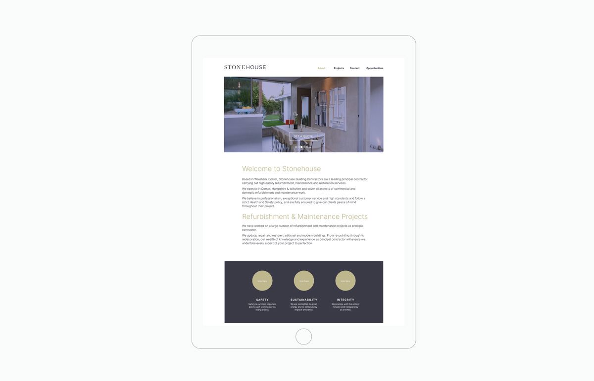 Website design for Stonehouse, a building contractor based in Devon, South West England