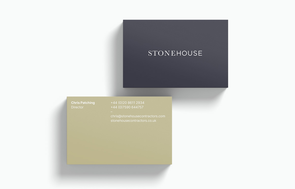 Two-sided business card design, part of our visual identity for Stonehouse, a building contractor based in Devon, South West England.