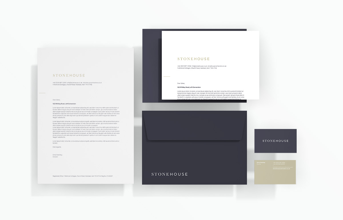 Business stationery design, including Letterhead, business card, compliment slip and bespoke envelope design, part of our visual identity for Stonehouse, a building contractor based in Devon, South West England.