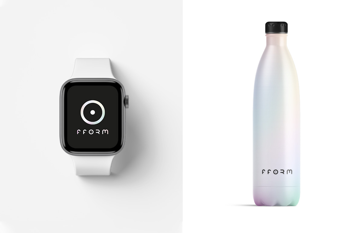 UI/UX design, including aspects of new identity. Branded water bottle.